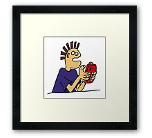 Cool Funny Gamer Playing  Mobile App Game Framed Print