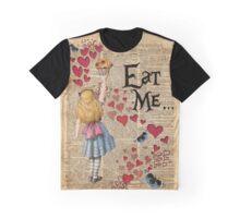 Alice in Wonderland,EAT ME.. Vintage Dictionary Art Graphic T-Shirt