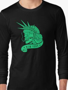 New York - Statue of Libery Skull (no background) Long Sleeve T-Shirt