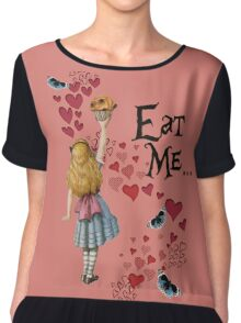Alice in Wonderland,EAT ME Vintage Illustration Chiffon Top
