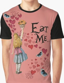 Alice in Wonderland,EAT ME Vintage Illustration Graphic T-Shirt