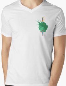 Statue of Liberty Flat Design Illustration Mens V-Neck T-Shirt