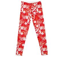 Red Monkey Flower Patterns Leggings