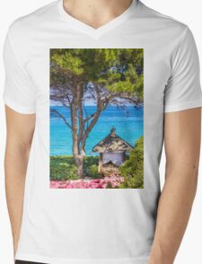 Saint Tropez Massage gazebo, France Mens V-Neck T-Shirt