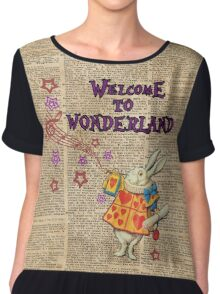 Rabbit Welcome To .. Alice In Wonderland Chiffon Top