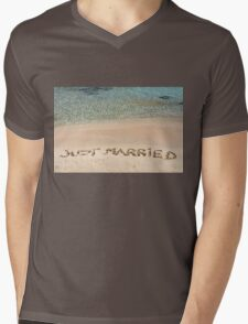 Just Married written in sand on a beautiful beach Mens V-Neck T-Shirt
