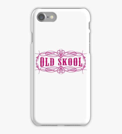 Old Skool Pinstripe Design in pink iPhone Case/Skin