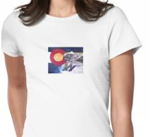 Colorado Flag Art ~Snow Boarders~By Cara Mia Womens Fitted T-Shirt