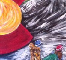 Colorado Flag Art ~Snow Boarders~By Cara Mia Sticker