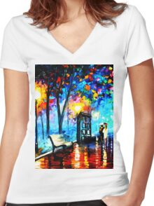 tardis in the rain Women's Fitted V-Neck T-Shirt