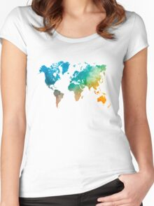 World map in watercolor  Women's Fitted Scoop T-Shirt