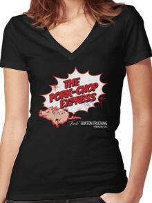 Pork Chop Express - Distressed Red Outline Variant Women's Fitted V-Neck T-Shirt