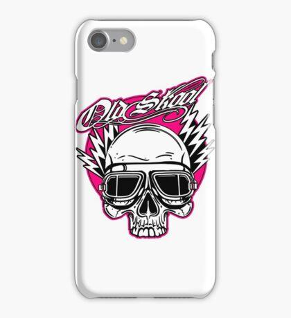 Old Skool Skull Design in pink by Uncle Henrys iPhone Case/Skin