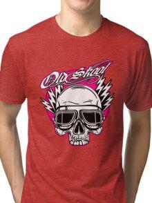 Old Skool Skull Design in pink by Uncle Henrys Tri-blend T-Shirt