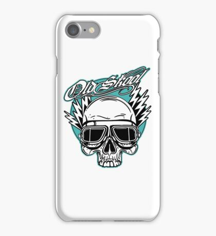 Old Skool Skull Design in turquoise iPhone Case/Skin