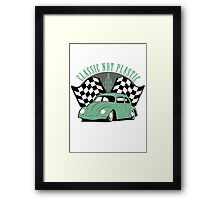 VW Beetle Classic Not Plastic Design in green Framed Print