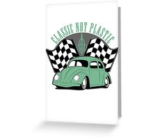 VW Beetle Classic Not Plastic Design in green Greeting Card