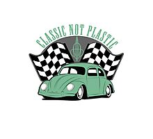 VW Beetle Classic Not Plastic Design in green Photographic Print