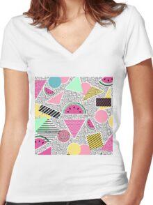 Modern geometric pattern Memphis patterns inspired Women's Fitted V-Neck T-Shirt