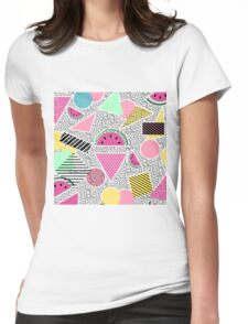 Modern geometric pattern Memphis patterns inspired Womens Fitted T-Shirt