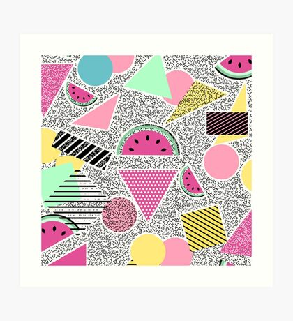 Modern geometric pattern Memphis patterns inspired Art Print