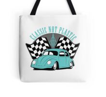 VW Beetle Classic Not Plastic Design in turquoise Tote Bag