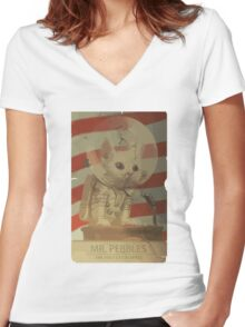 Mr. Pebbles - The first cat in space Women's Fitted V-Neck T-Shirt