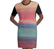 Abstract Sunset in Pink, Purple and Teal Graphic T-Shirt Dress