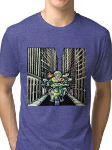 Woman on Vespa in New York Tri-blend T-Shirt
