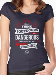 Red Cordial is Dangerous [White & Red] Women's Fitted Scoop T-Shirt