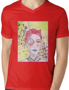 clock girl Mens V-Neck T-Shirt