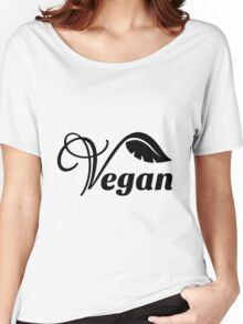 Black Vegan Logo Design Women's Relaxed Fit T-Shirt