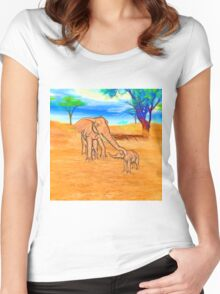Mother Love Two Baby Elephants Serengeti  Women's Fitted Scoop T-Shirt