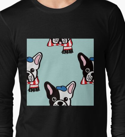 French Bulldog in Robins Egg Blue Long Sleeve T-Shirt