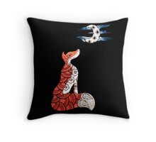 Fox and moon   Throw Pillow