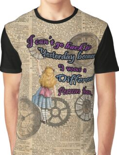Alice In Wonderland Travelling in Time Graphic T-Shirt