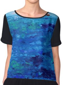 Tiny Boat on Abstract Dripping Ocean Chiffon Top