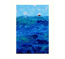 Tiny Boat on Abstract Dripping Ocean Art Print