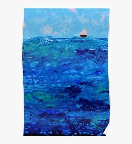 Tiny Boat on Abstract Dripping Ocean Poster