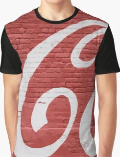 Vintage Brick Wall Cola Mural Graphic T-Shirt