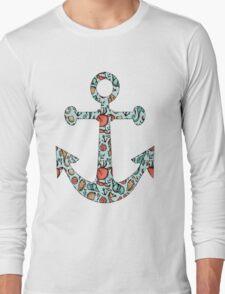 Anchor w/ Ocean Pattern Long Sleeve T-Shirt