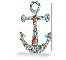 Anchor w/ Ocean Pattern Greeting Card