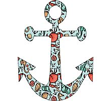 Anchor w/ Ocean Pattern Photographic Print