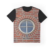 Red Brick Wall with Round Window, 17th century house, England Graphic T-Shirt