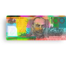 Pop Art Colorized One Hundred Australian Dollar Bill Canvas Print