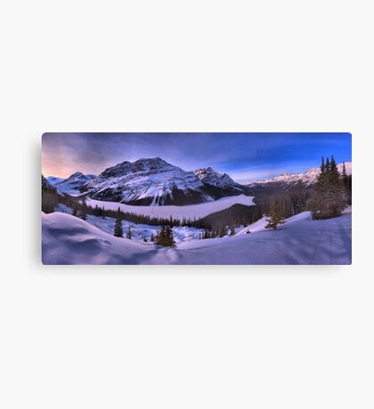 Peyto Lake Purple Sunset Panorama Canvas Print