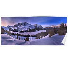 Peyto Lake Purple Sunset Panorama Poster