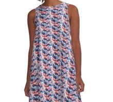 Abstract in red & blue A-Line Dress
