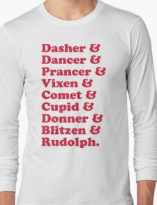 Reindeer Names Christmas Quote  Long Sleeve T-Shirt