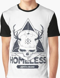 Dot work styled print with skull and geometric hipster Graphic T-Shirt